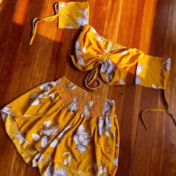 Mustard Yellow 2 Piece Floral Set